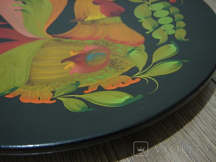 Большая настенная тарелка папье маше. Авторская роспись. Диаметр 30 см., фото №5