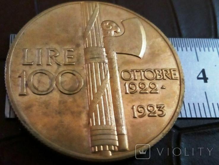 100 лір 1923 року.ІТАЛІЯ /репліка/позолота 999., фото №2