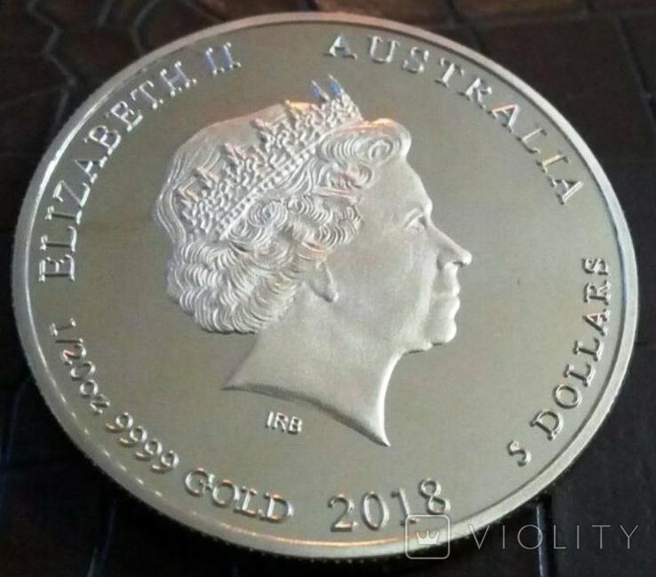 5 доларів Австралія  2018 року.  магнітний,   (позолота 999)  копія, фото №3