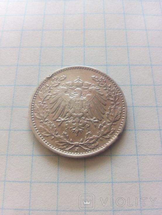 1/2 марки 1916 J Гамбург, фото №3