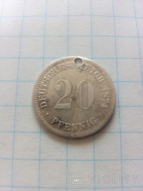 20 пфенінгів 1874 F Штутгарт, фото №2