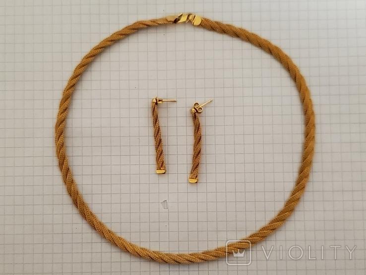 Цепочка и сережки,золото 916., фото №2