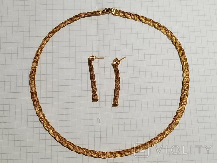 Цепочка и сережки,золото 916., фото №3