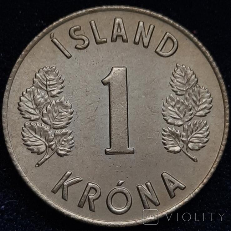 Ісландія 1 крона 1974 року, фото №3