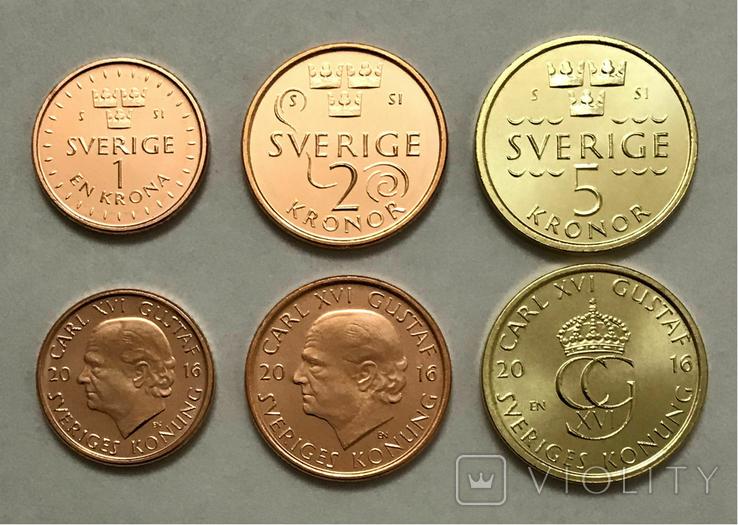 Швеция - Набор из 3 монет 2016 - 1 - 5 крон, фото №3