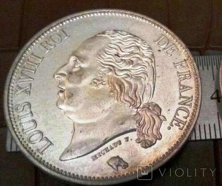 5 франків 1816 року ВВ. ФРАНЦІЯ -імперія/точна копія срібної/ посрібнення 999, фото №2