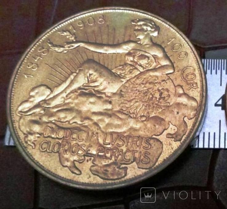 100 крон 1908 року Австро-Угорщина. Точна копія - не магнітна  дзвенить,   /ЛОТ - 1 ШТ., фото №2