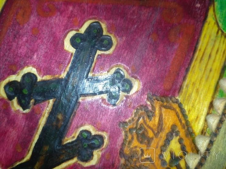 """2 Иконы в 1 лотеСв.хра.Николай"""",дерево,ручная работа,резьба и Св.Николая в рамке,освящены., фото №4"""