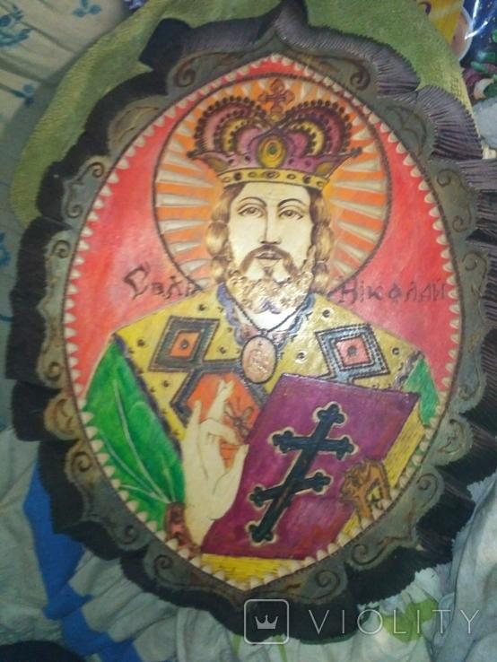 """2 Иконы в 1 лотеСв.хра.Николай"""",дерево,ручная работа,резьба и Св.Николая в рамке,освящены., фото №7"""