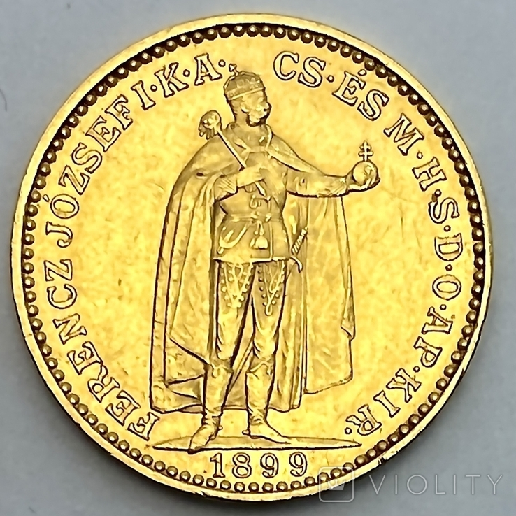 20 крон. 1899. Венгрия. (золото 900, вес 6,78 г)