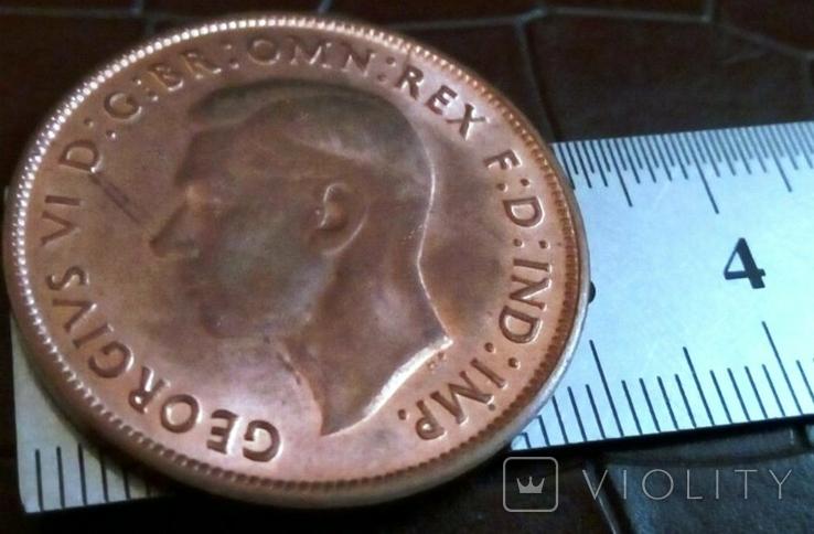 1 пенні 1946 року.  Австралія териорія Британії копія,дзвенить не магнітна- мідь, фото №3