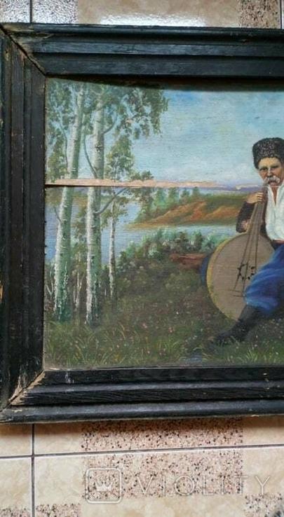 Картина старинная Кобзарь с бандурой худ.Мария К., фото №3