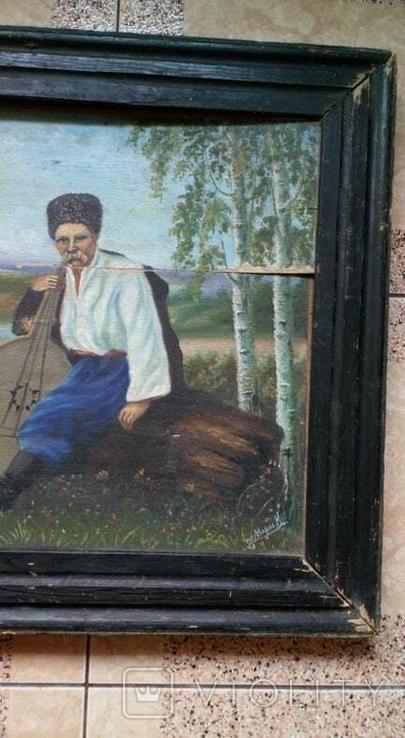 Картина старинная Кобзарь с бандурой худ.Мария К., фото №4