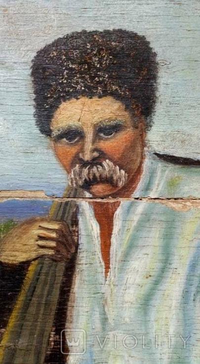 Картина старинная Кобзарь с бандурой худ.Мария К., фото №7