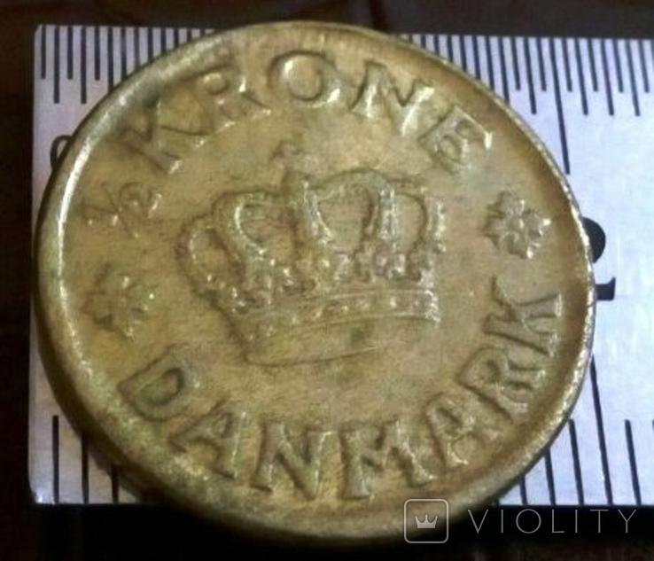 1/2 крона 1939  року Норвегіія копія ї не  магнітна, фото №3