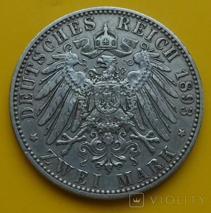 2 марки, 1893г, Пруссия., фото №5