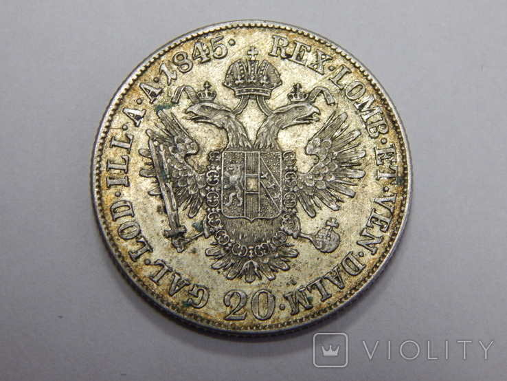 20 крейцеров, 1845 г Австрия, фото №2
