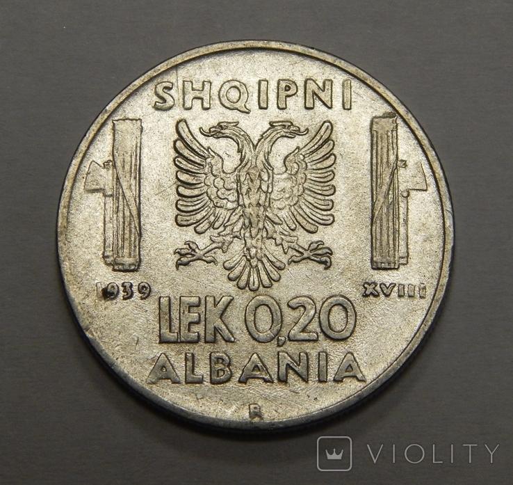 0,2 лека, 1939 г Албания, фото №2