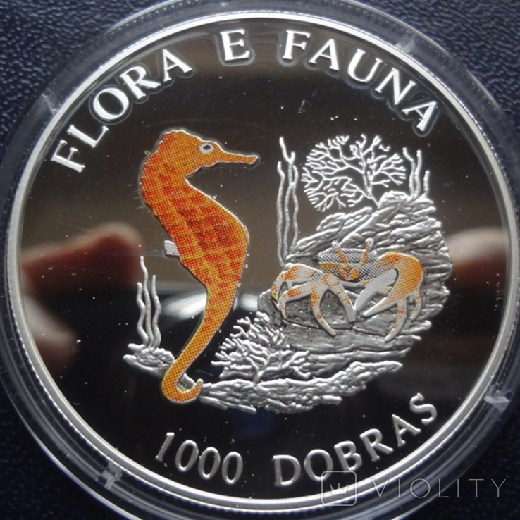 1000 добрас 1995 Сантоме и Принсипе Морской конек 25г цветная серебро  (3.4.11), фото №2