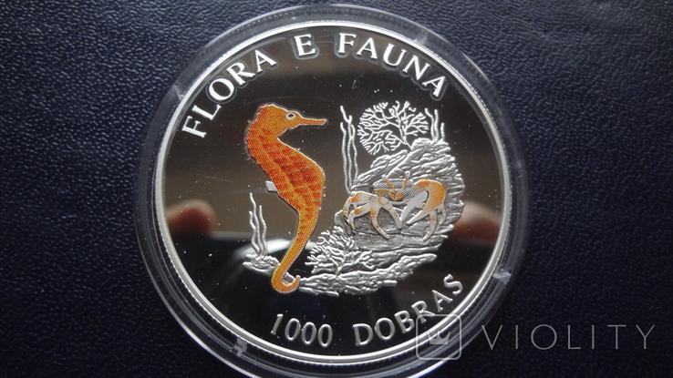 1000 добрас 1995 Сантоме и Принсипе Морской конек 25г цветная серебро  (3.4.11), фото №4