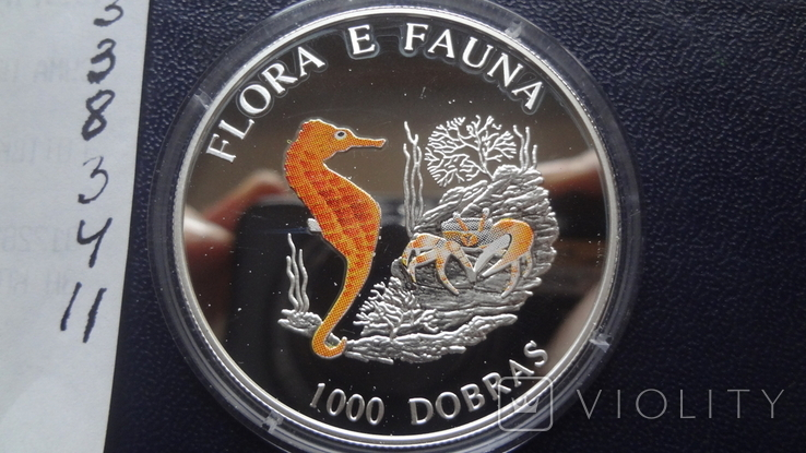 1000 добрас 1995 Сантоме и Принсипе Морской конек 25г цветная серебро  (3.4.11), фото №8