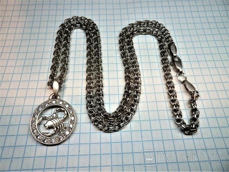 Подвеска знак зодиака Скорпион с цепью. серебро 23,8 грамм, фото №3
