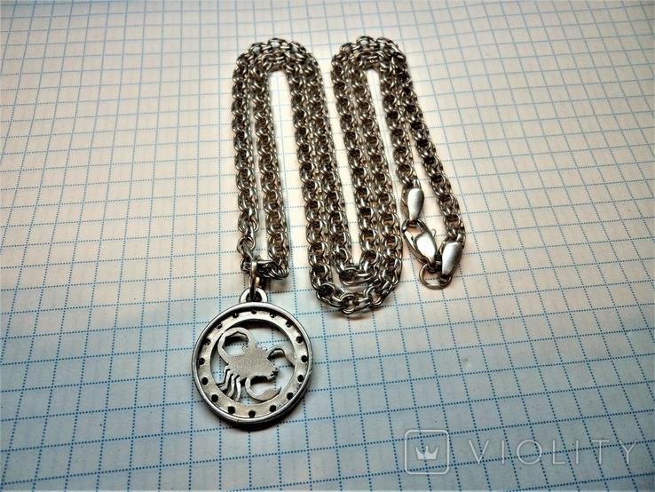 Подвеска знак зодиака Скорпион с цепью. серебро 23,8 грамм, фото №5