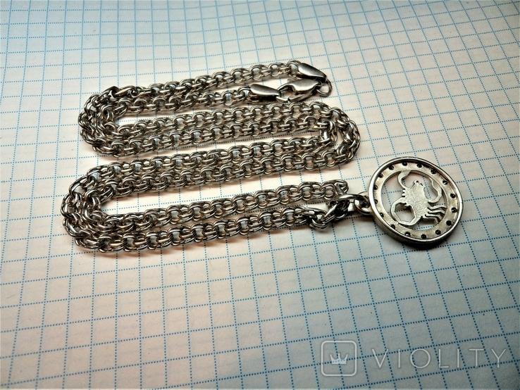Подвеска знак зодиака Скорпион с цепью. серебро 23,8 грамм, фото №6