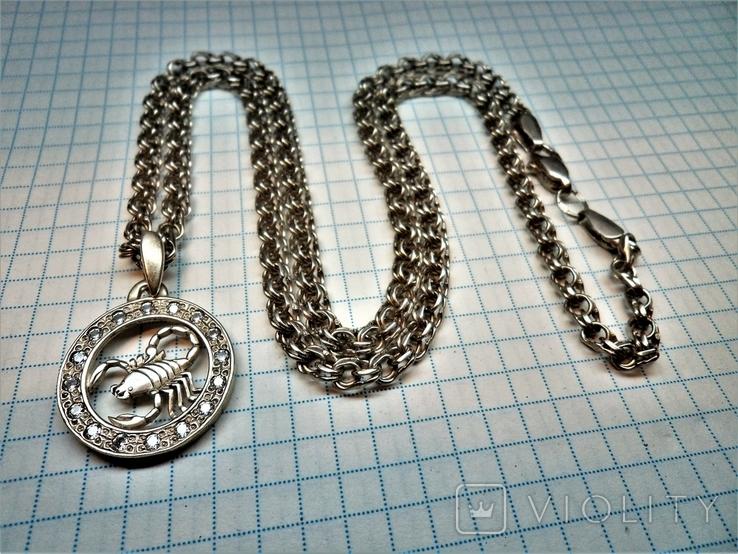 Подвеска знак зодиака Скорпион с цепью. серебро 23,8 грамм, фото №7