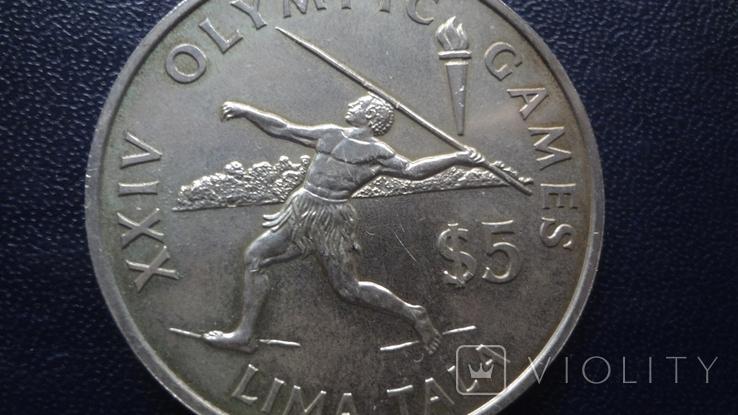 5 долларов 1988 Токелау Метание копья 27,5 г  серебро    (4.5.3), фото №3