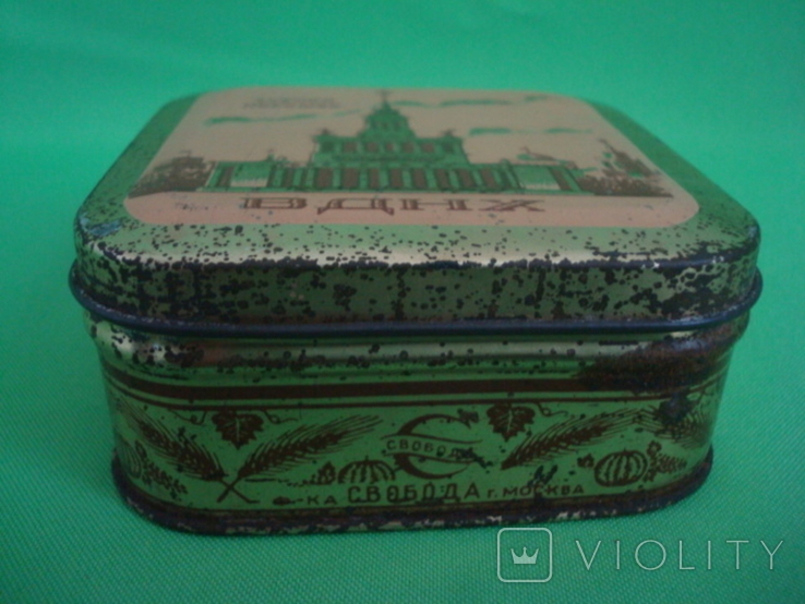 Коробка от зубного порошка ВДНХ жесть ф-ка Свобода, фото №4