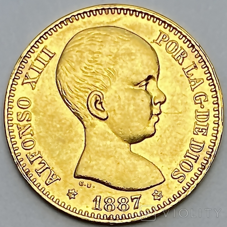 20 песет. 1887. Альфонсо XIII. Испания (золото 900, вес 6,46 г), фото №2