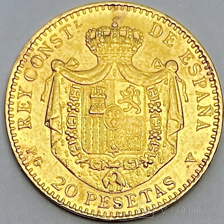 20 песет. 1887. Альфонсо XIII. Испания (золото 900, вес 6,46 г), фото №3