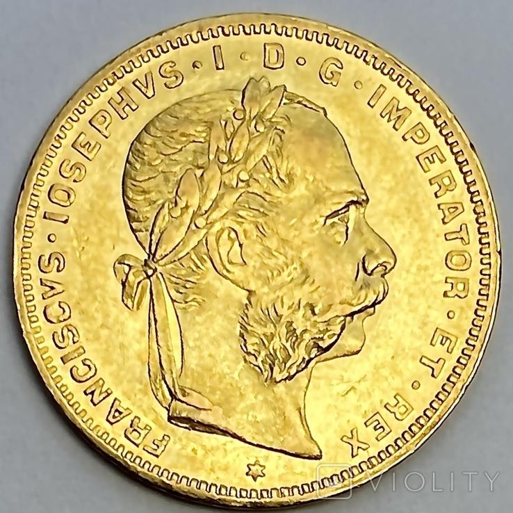 8 флоринов 20 франков. 1887. Франц Иосиф I. Австро-Венгрия (золото 900, вес 6,45 г), фото №2