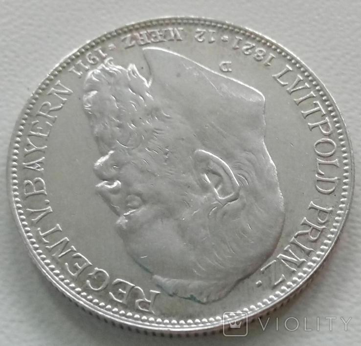 Бавария 2 марки 1911 года, фото №3