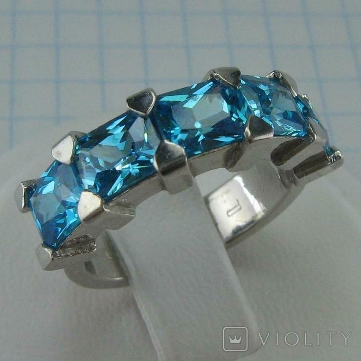 Серебряное Кольцо Размер 17 Яркие Голубые Камни Фианиты Принцесса 925 проба Серебро 868, фото №2