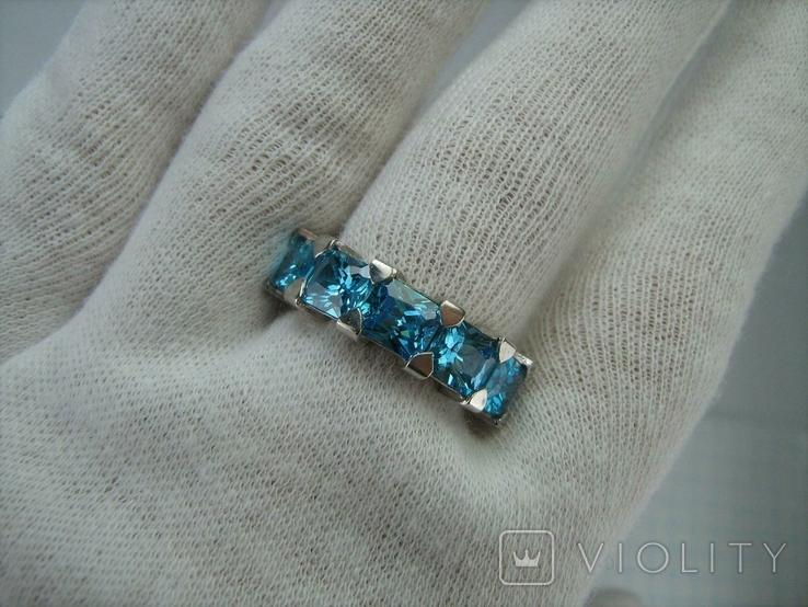 Серебряное Кольцо Размер 17 Яркие Голубые Камни Фианиты Принцесса 925 проба Серебро 868, фото №8