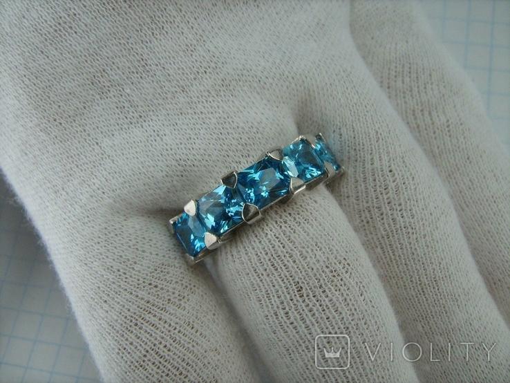 Серебряное Кольцо Размер 17 Яркие Голубые Камни Фианиты Принцесса 925 проба Серебро 868, фото №9