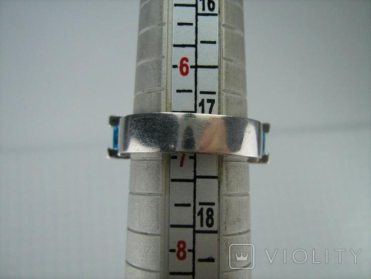 Серебряное Кольцо Размер 17 Яркие Голубые Камни Фианиты Принцесса 925 проба Серебро 868, фото №10