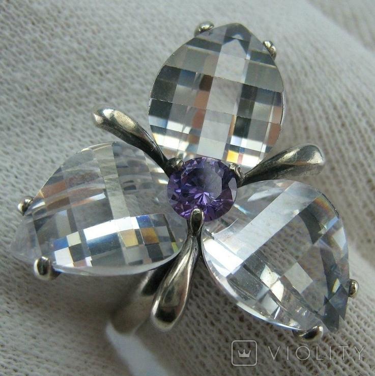 Серебряное Кольцо Размер 18.75 Камни Белые Фиолетовый Лепестки 925 проба Серебро 937, фото №2