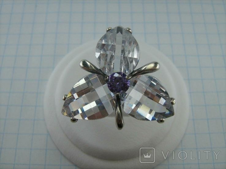 Серебряное Кольцо Размер 18.75 Камни Белые Фиолетовый Лепестки 925 проба Серебро 937, фото №3
