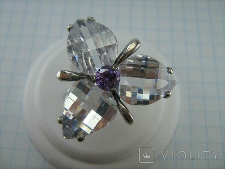 Серебряное Кольцо Размер 18.75 Камни Белые Фиолетовый Лепестки 925 проба Серебро 937, фото №4