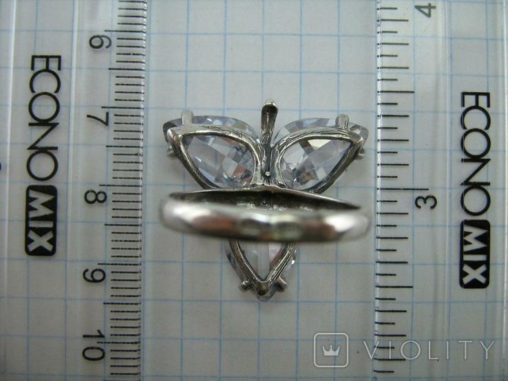 Серебряное Кольцо Размер 18.75 Камни Белые Фиолетовый Лепестки 925 проба Серебро 937, фото №7