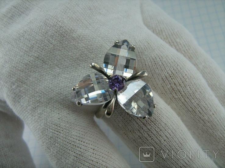 Серебряное Кольцо Размер 18.75 Камни Белые Фиолетовый Лепестки 925 проба Серебро 937, фото №9