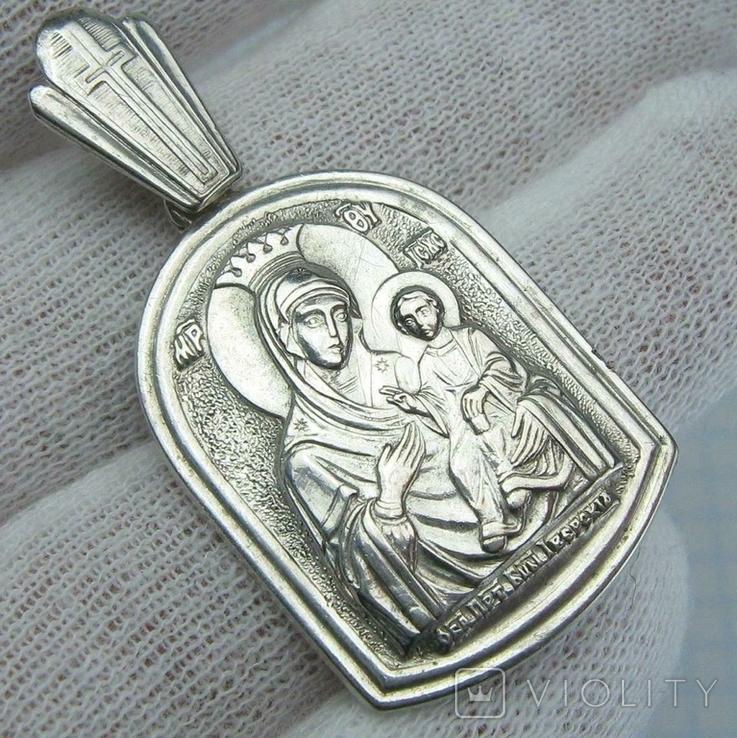 Серебряный Кулон Подвеска Образок Ладанка Богородица Иверская Серебро 925 проба 923, фото №2