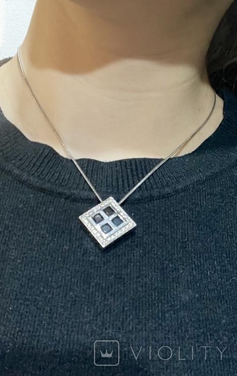Серебренный кулон с камнями, фото №6