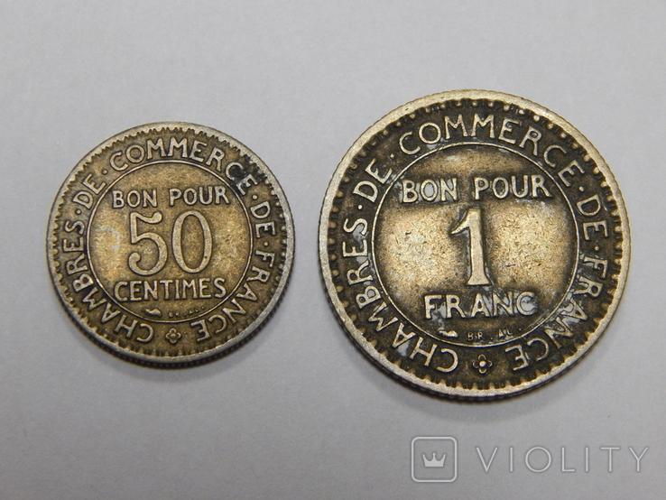 50 центимес и 1 франк, Франция, 1923 г, фото №2
