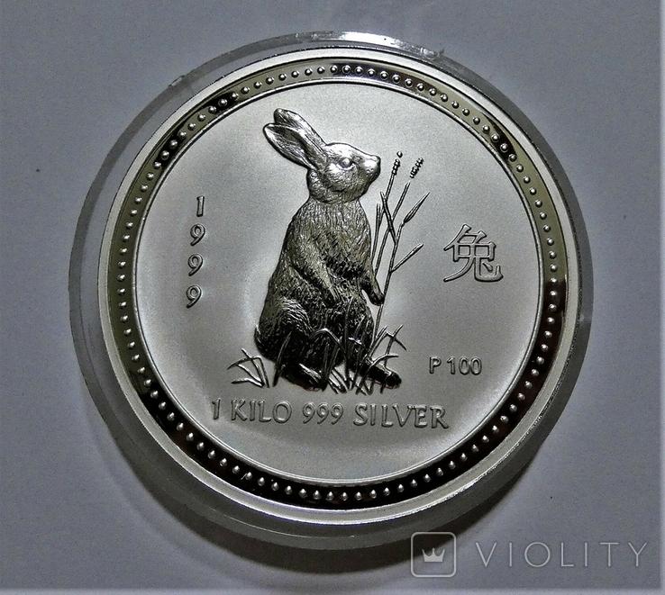 """1999 Австралия, серебро, 1 килограмм """"Год Кролика"""", фото №4"""
