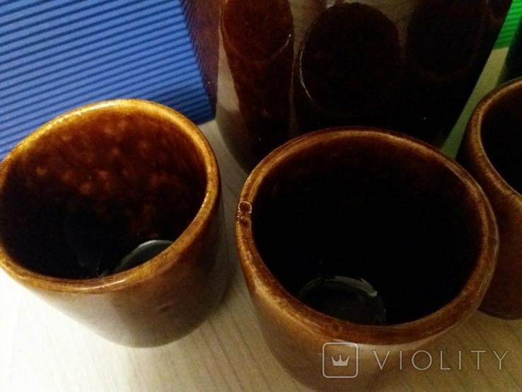 Керамический кувшин и 4 стакана времен СССР, новый, фото №12