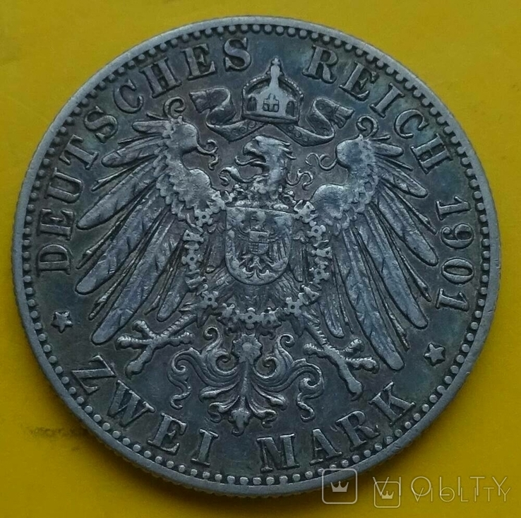 2 марки, Вюртемберг, 1901 год., фото №5